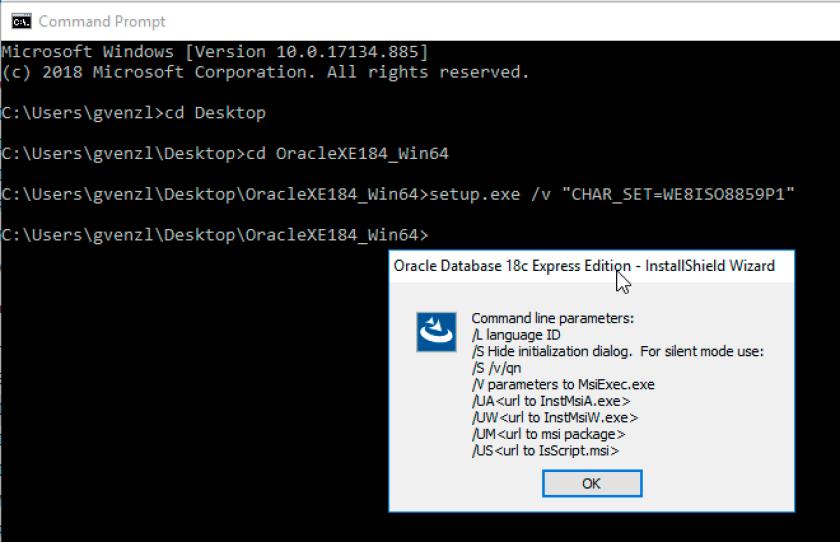 Oracle Database 18c XE Character Set command line error