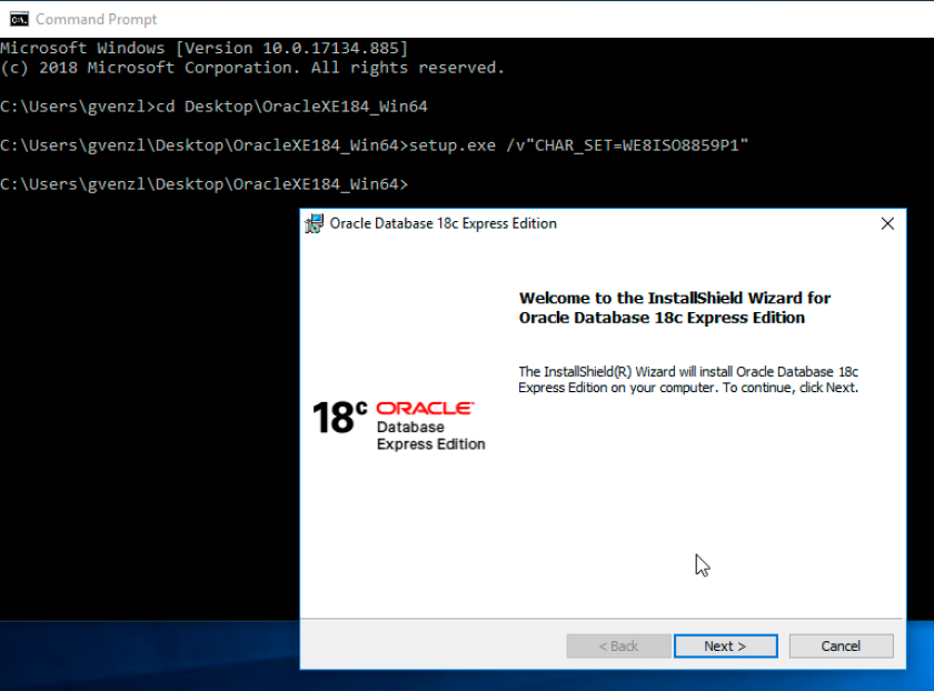 Oracle Database 18c XE Character Set command line installer