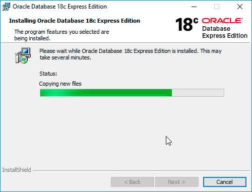 Oracle Database 18c XE Installation progress