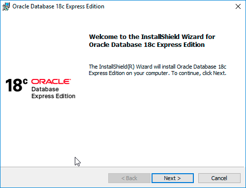 Oracle Database 18c XE Installer