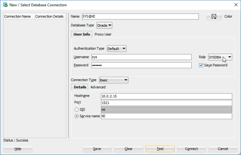 Oracle Database 18c XE SQLDeveloper XE Connection Details