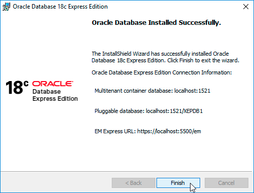 Oracle Database 18c XE Successful Installation