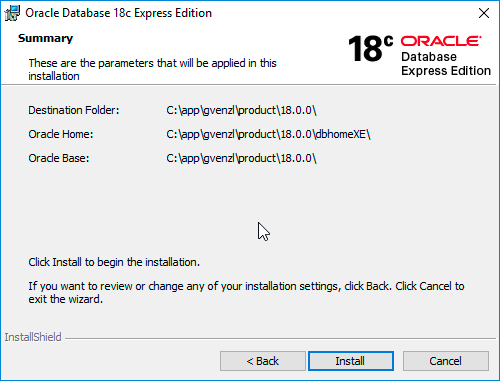 Oracle Database 18c XE Summary screen